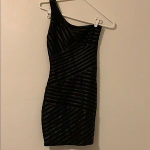 Black, one shoulder Bebe dress size XS